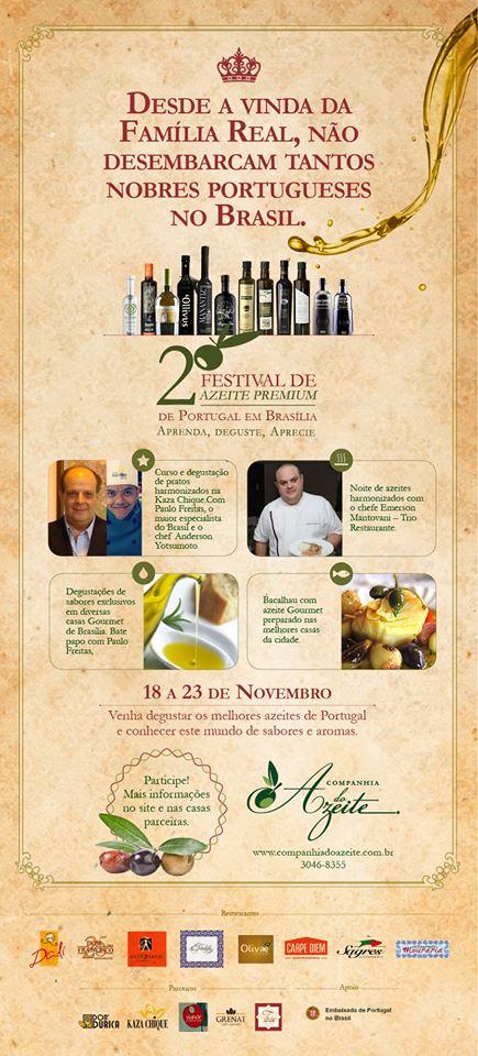 """PALESTRA, DEGUSTAÇÃO E HARMONIZAÇÃO DE AZEITES NO """"2° FESTIVAL DE AZEITE PREMIUM DE PORTUGAL"""", EM BRASÍLIA, DE 18 A 23 DE NOVEMBRO DE 2013"""