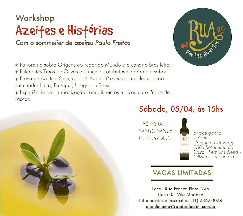 Workshop Azeites e Histórias no Rua do Alecrim Empório Gourmet em São Paulo.