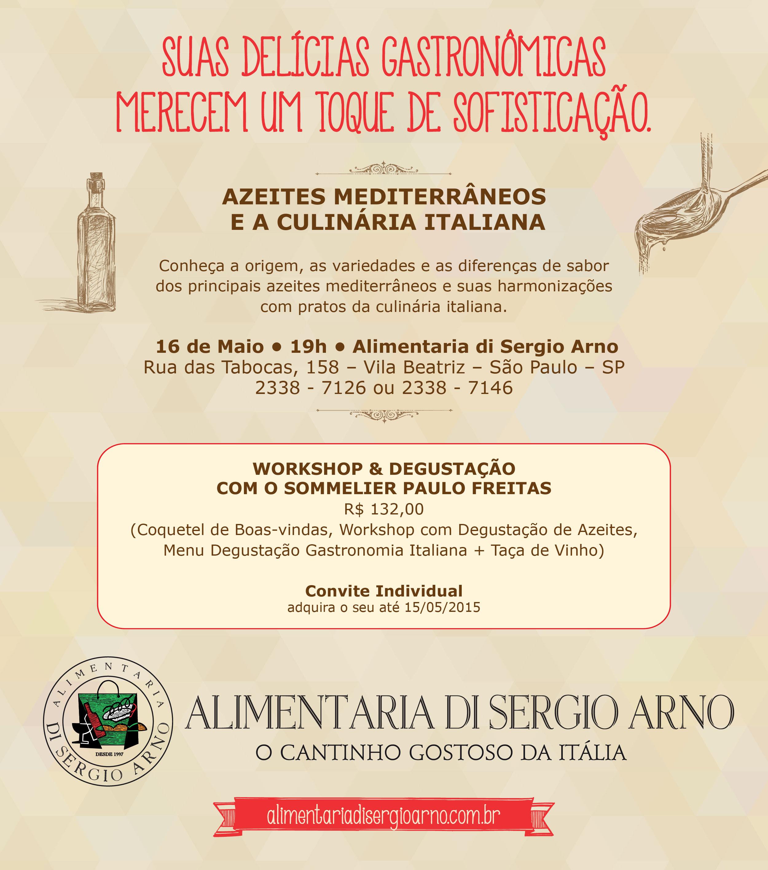 Palestra e harmonização de azeites com pratos da culinária italiana